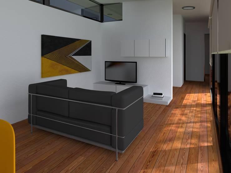 INTERIORES / VIVIENDA R / EDICION CAPSULA / TU CASA: Livings de estilo  por VHA Arquitectura