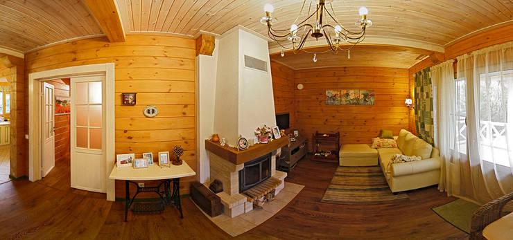 Загородный дом из клееного бруса: Гостиная в . Автор – Дмитрий Кругляк
