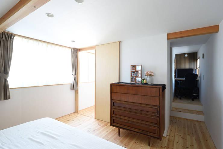 寝室 右奥に見えるのは書斎: 加藤淳一級建築士事務所が手掛けた寝室です。