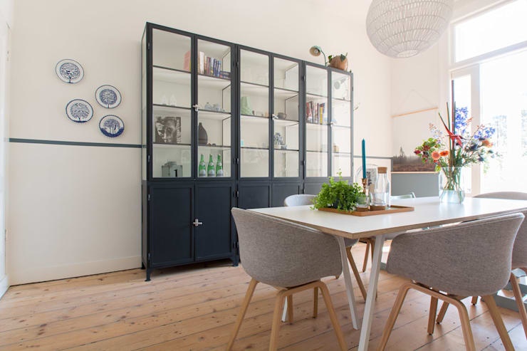 Interieurontwerp herenhuis Utrecht:  Eetkamer door Studio Binnen