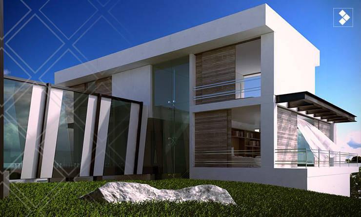 Fachada posterior: Casas de estilo  por CDR CONSTRUCTORA