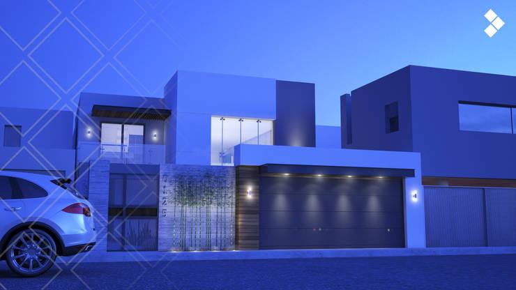 Fachada nocturna: Casas de estilo  por CDR CONSTRUCTORA