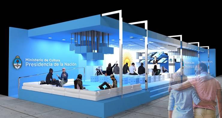 Concurso de Anteproyectos - Stand Argentino para Feria ARCOmadrid 2017: Salas multimedia de estilo  por Arq. Jose F. Correa Correa