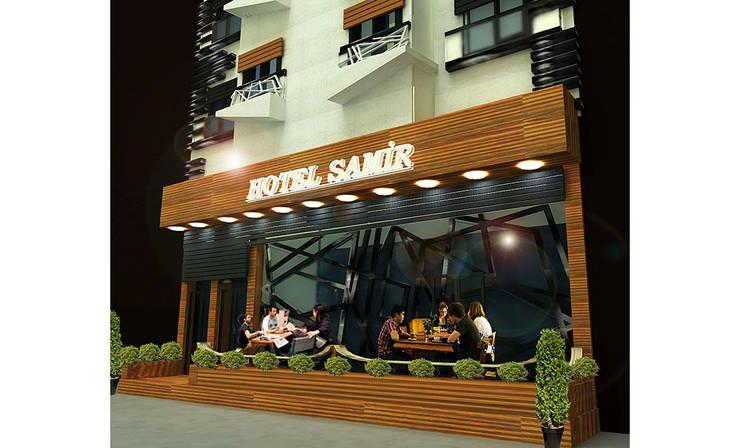 MAHAL MİMARLIK – Samir Hotel - Kafe Dış Cephesi:  tarz Oteller, Modern