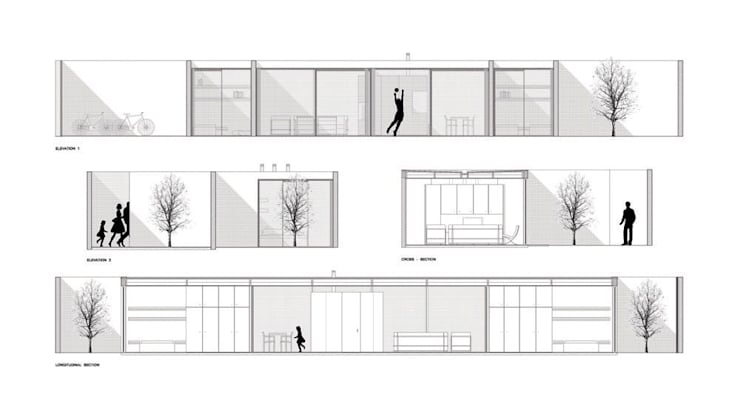 cortes e alçados: Casas  por AR arquitectura