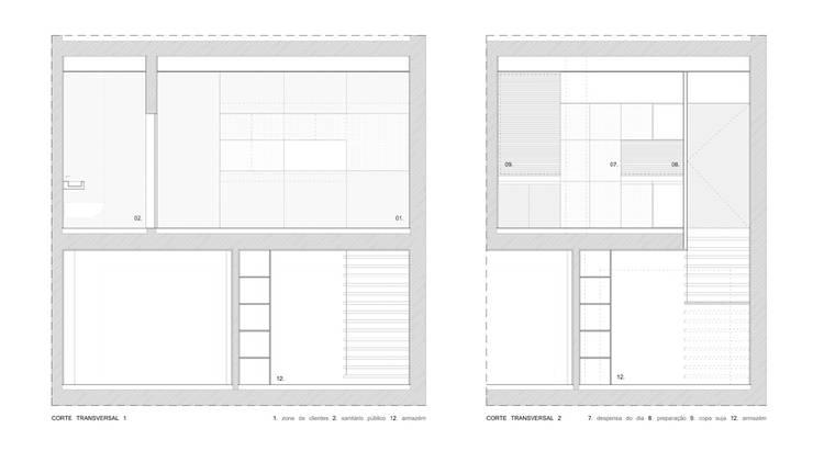 cortes transversais: Lojas e espaços comerciais  por AR arquitectura