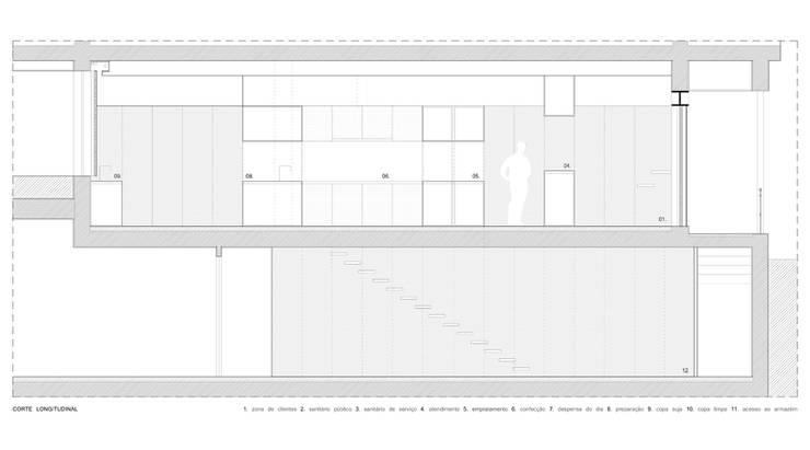 cortes longitudinais: Lojas e espaços comerciais  por AR arquitectura