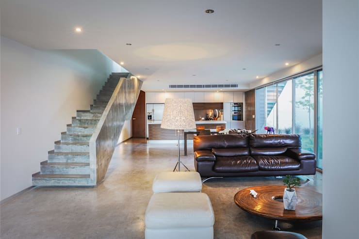 Casa IPE - P+0 Arquitectura: Salas de estilo  por pmasceroarquitectura