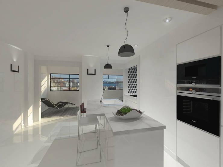 Remodelação Apartamento Principe Real: Cozinhas  por Projectos Arquitectura & 3D