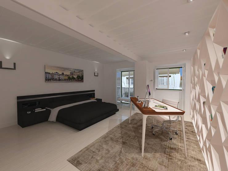 Remodelação Apartamento Principe Real: Quartos  por Projectos Arquitectura & 3D