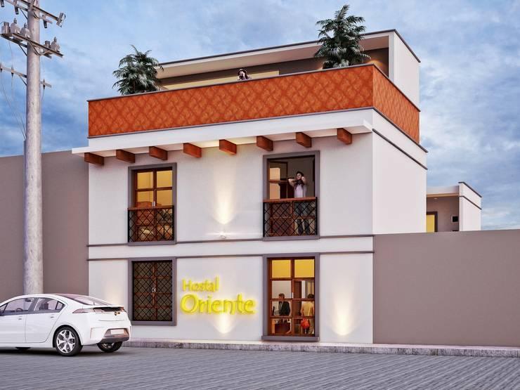 Hostal Oriente: Hoteles de estilo  por LOFT ESTUDIO arquitectura y diseño