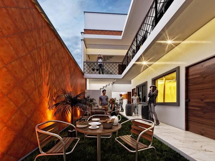 Hostal Oriente/ Área común: Hoteles de estilo  por LOFT ESTUDIO arquitectura y diseño