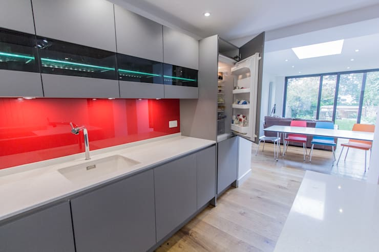 Grey & Red:  Kitchen by Eco German Kitchens