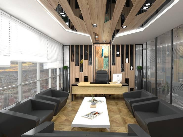 Murat Aksel Architecture – MAQAM OFFİCE:  tarz Çalışma Odası, Modern Masif Ahşap Rengarenk