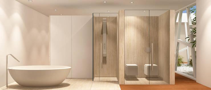 Estudo para  apartamento no Rio de Janeiro: Casas de banho  por GRAU.ZERO Arquitectura