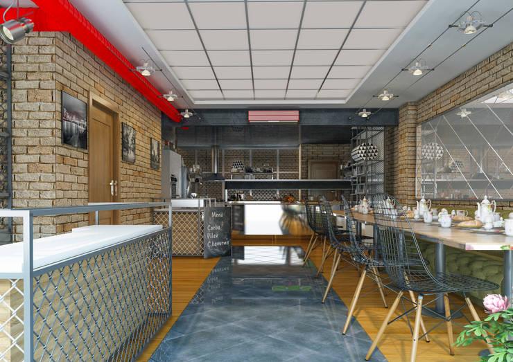 UÇ iç mimarlık – Evett cafe servis alanı: modern tarz , Modern Ahşap Ahşap rengi