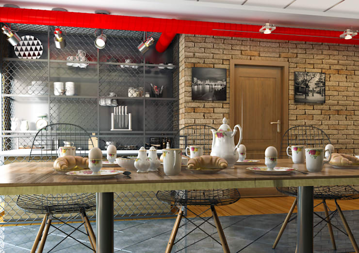 UÇ iç mimarlık – Evett cafe vitamin bar: modern tarz , Modern Ahşap Ahşap rengi