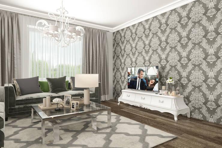Квартира в ЖК «Смольный Парк», 103 кв.м.: Гостиная в . Автор – Студия дизайна интерьера Маши Марченко