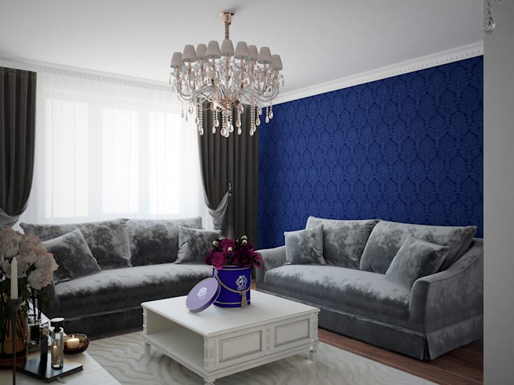 Salas / recibidores de estilo  por Студия дизайна интерьера Маши Марченко