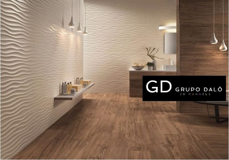 DISEÑOS EXCLUSIVOS: Paredes y pisos de estilo  por GRUPO DALÒ    PANELES DECORATIVOS EN 3D