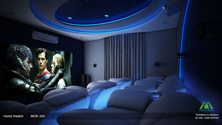 Media room by Monnaie Architects & Interiors
