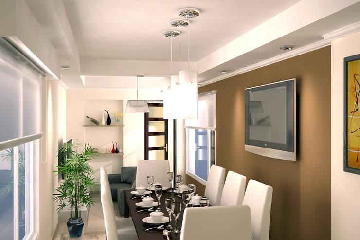 Vista del Estar-Comedor: Comedores de estilo  por G-R Arquitectura