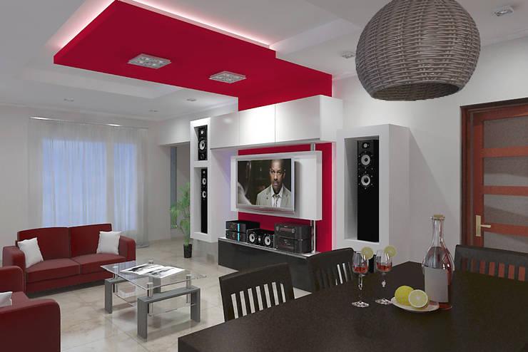Diseño de Interior en Puán: Salas multimedia de estilo  por G-R Arquitectura,