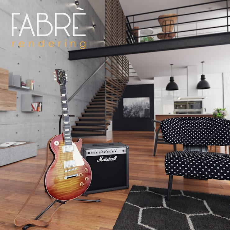 LOFT - DETALLES: Salas de entretenimiento de estilo  por FABRE STUDIO