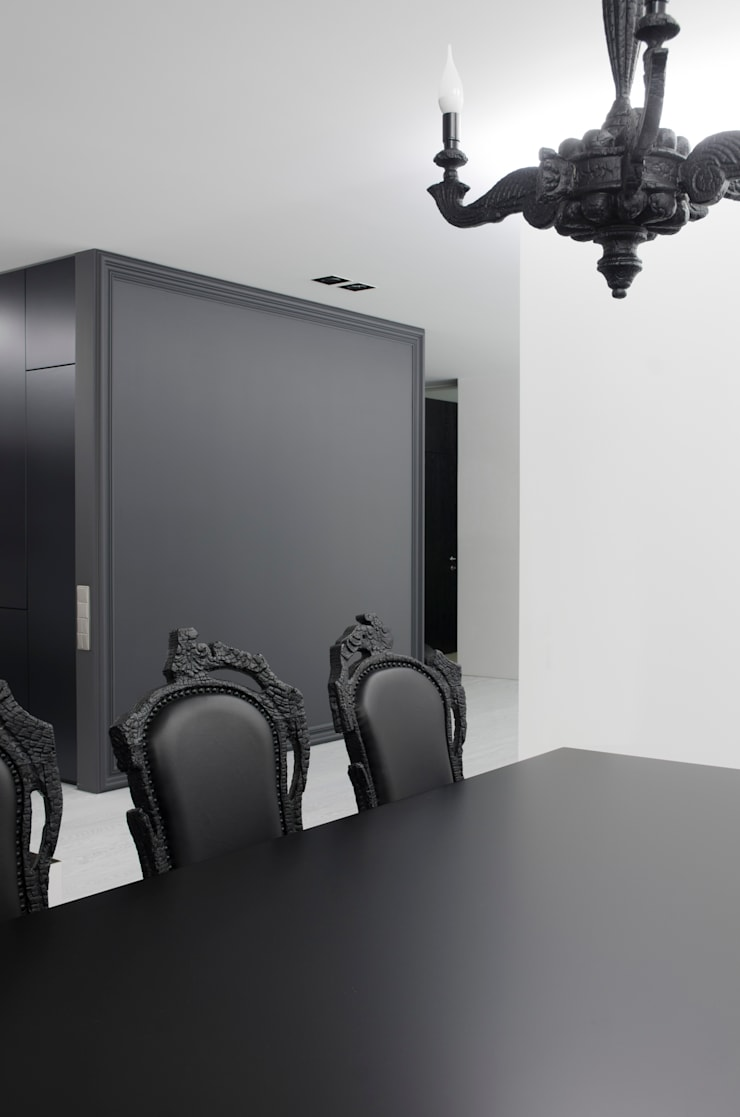MONOCHROME: minimalistic Dining room by LINE architects