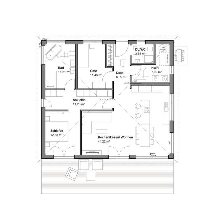 Bungalow Haus Modern Grundriss Mit Walmdach Architektur: Bungalow Modern Von Bauen.wiewir GmbH & Co KG