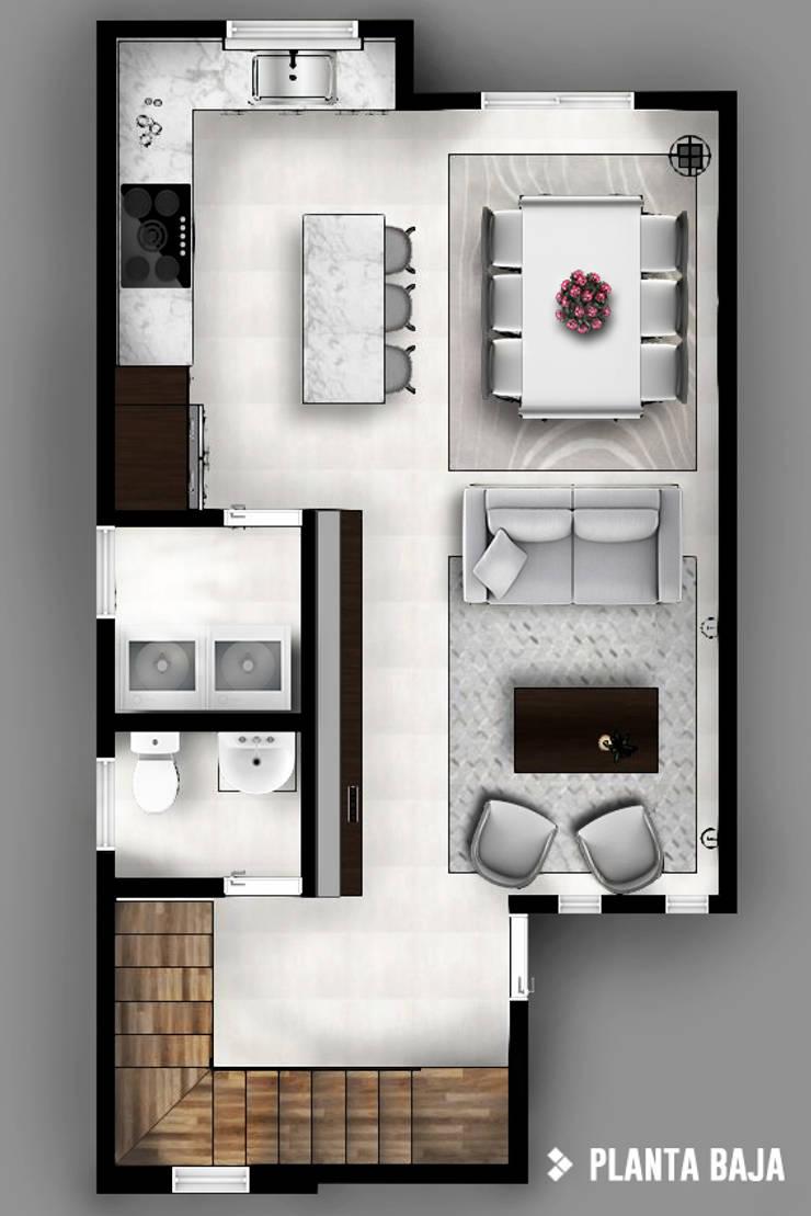 Planta baja: Pasillos y recibidores de estilo  por CDR CONSTRUCTORA
