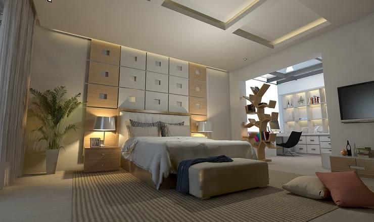 تصميم شقة في مدينة 6 اكتوبر:  غرفة نوم تنفيذ Ain Designs Studio