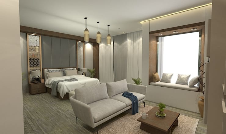 غرفة نوم تنفيذ Ain Designs Studio