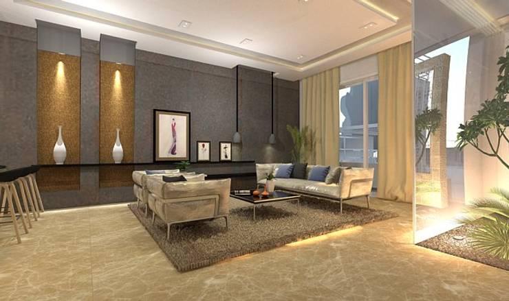 تصميم شقة في مدينة 6 اكتوبر:  غرفة المعيشة تنفيذ Ain Designs Studio