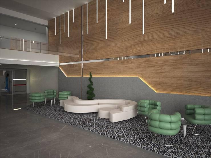 Murat Aksel Architecture – HOSPİTAL LOBBY:  tarz Duvarlar, Modern Granit