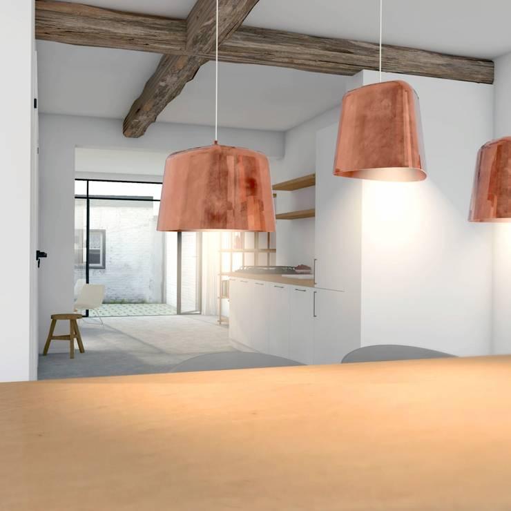 Eetkamer met open keuken:  Eetkamer door De Nieuwe Context, Modern Hout Hout