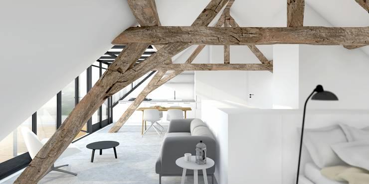 Loft :  Woonkamer door De Nieuwe Context, Modern Hout Hout