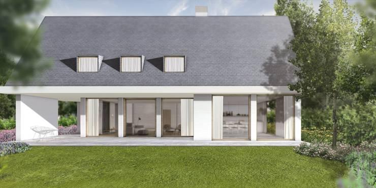 Achtergevel met uitbouw:  Huizen door De Nieuwe Context, Modern Glas