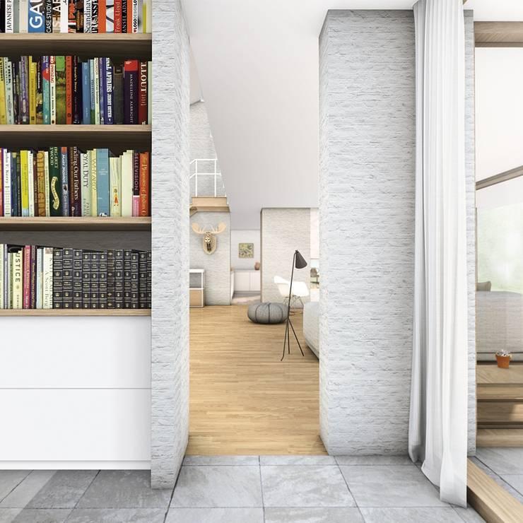 Studie:  Studeerkamer/kantoor door De Nieuwe Context, Modern Kalksteen