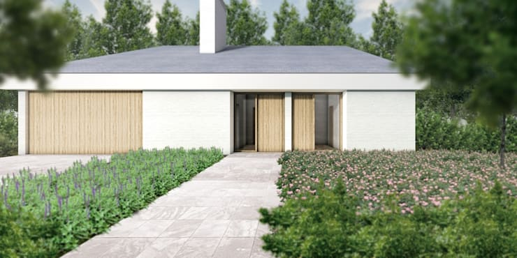 Voorgevel villa:  Huizen door De Nieuwe Context, Modern Hout Hout