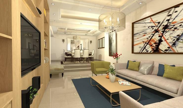 تصميم فيلا بالتجمع الخامس Palm Hills:  غرفة السفرة تنفيذ Ain Designs Studio