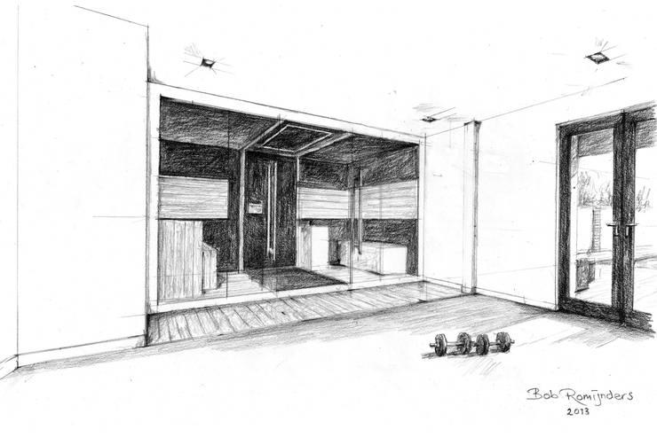 Handgetekende 3D impressie: moderne Spa door Bob Romijnders Architectuur & Interieur