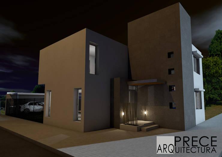 Fachada nocturna:  de estilo  por Prece Arquitectura