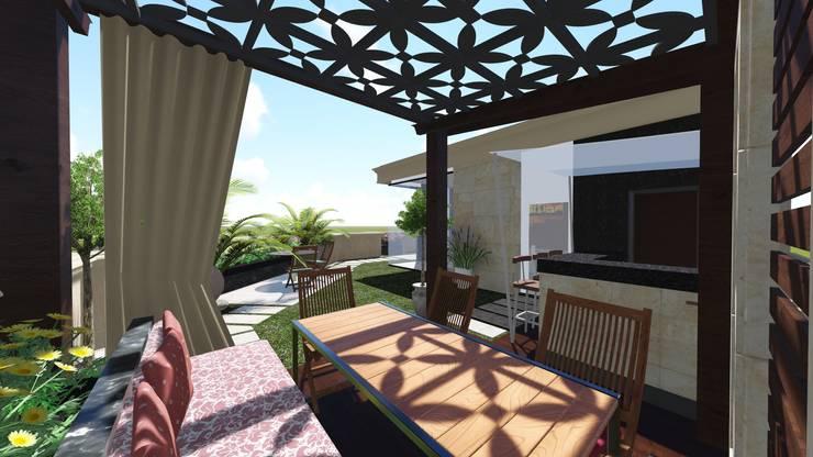 تصميم اسطوح في التجمع الخامس:  بلكونة أو شرفة تنفيذ Ain Designs Studio