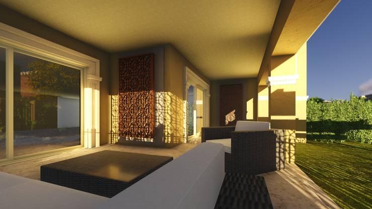تصميم و تنفيذ مشروع حديقة فيلا في التجمع الخامس:  بلكونة أو شرفة تنفيذ Ain Designs Studio