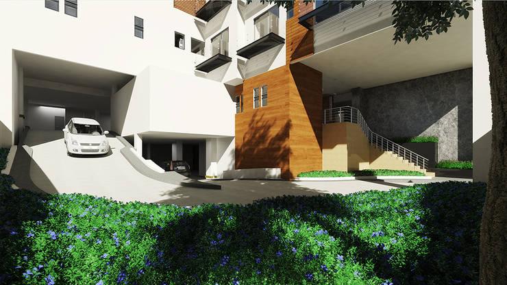 Muro en madera : Vestíbulos, pasillos y escaleras de estilo  por ByHand