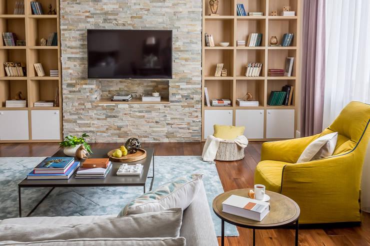 Квартира в стиле фьюжн , реализованный: Гостиная в . Автор – Alexander Krivov