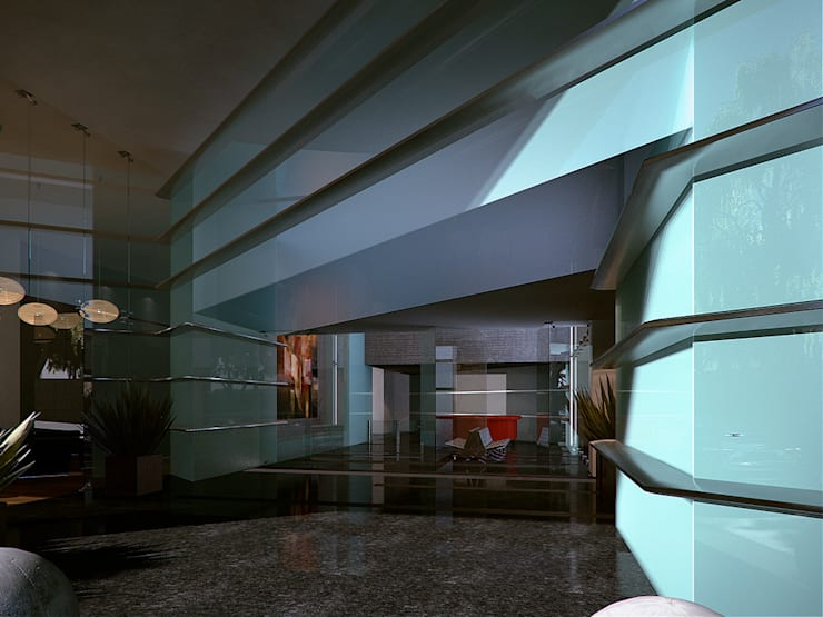 """Recepcion """"Fuente Bella"""": Vestíbulos, pasillos y escaleras de estilo  por ByHand"""
