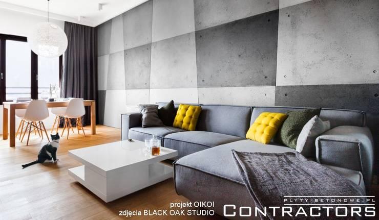 Płyty betonowe: styl , w kategorii Salon zaprojektowany przez Contractors
