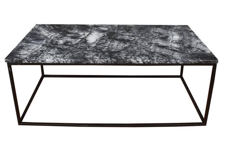 Kar Art Dekorasyon – Siyah Mermer Düz Metal Ayaklı Orta Sehpa 60*120cm:  tarz , İskandinav Mermer